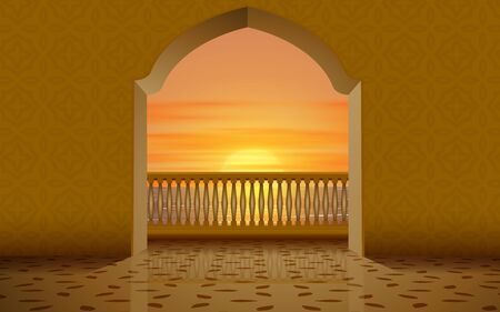 view of balcony on the mosque in sunset