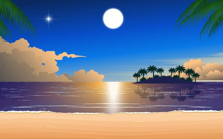 pleine lune sur le ciel bleu au coucher du soleil à la plage Vecteurs