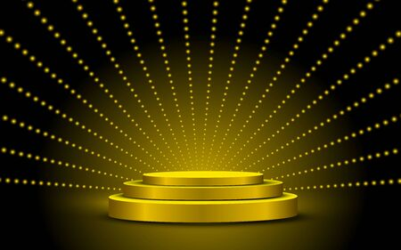 golden podium and gold light in the studio room
