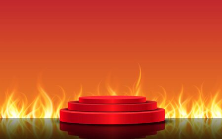 red podium with flame background 向量圖像