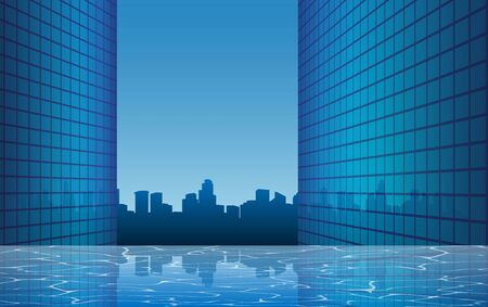 landscape of swimming pool on the high building in city
