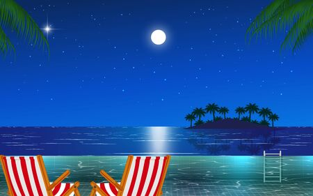 view of outdoor swimming pool on the beach in night Stock Illustratie