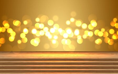 wooden floor with gold light background