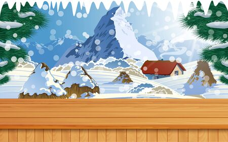wooden table with landscape of mountain in snowday