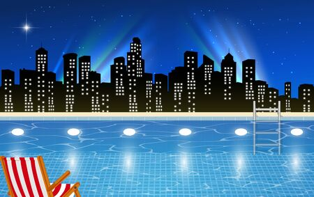 view of swimming pool on the high building in the city in the night Vetores