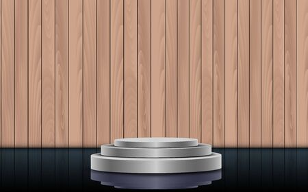 silver podium on the glass floor with wooden wall background Фото со стока - 129291277