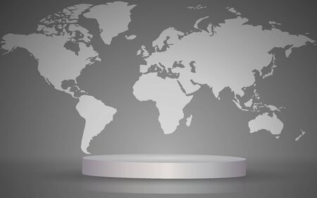 white podium with map world background in the studio room  イラスト・ベクター素材