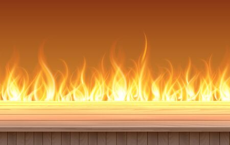 wooden table with flame background