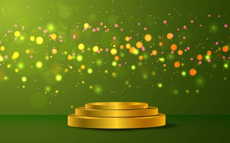 golden podium with colorful light on the green background