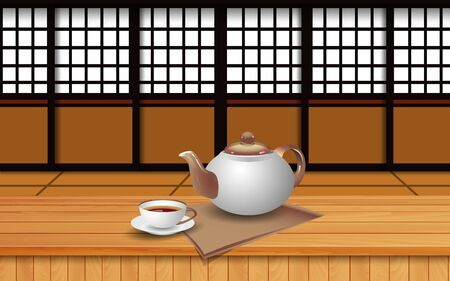 hot tea on the wooden table in japan room