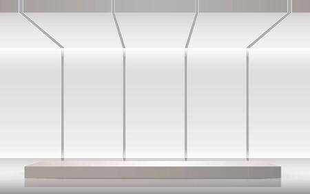 white stand in the white studio room Vector Illustratie