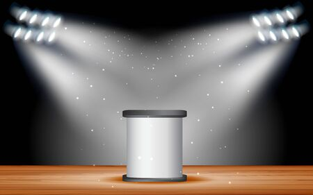 white podium with white spotlight on the stage Иллюстрация