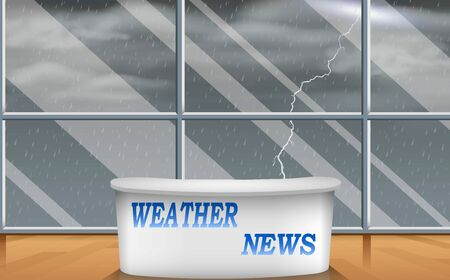 weater news studio room with the rain background