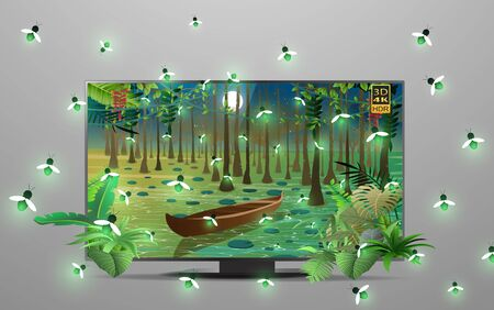 3d lcd tv with firefly at the river in the jungle