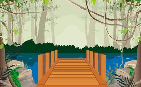 paseo marítimo en el río en la jungla