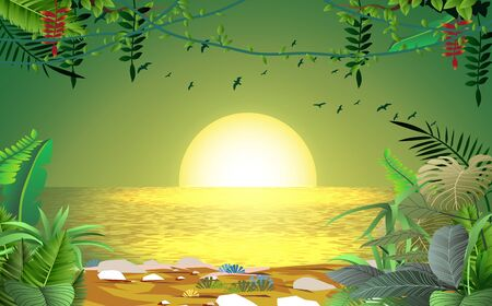 landscape of sunset at the river in jungle