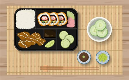 Japanese food in the bento box Stock Vector - 129291732
