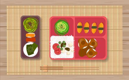 Cuisine japonaise dans la boîte à bento