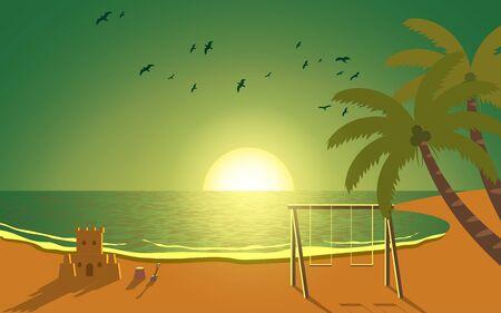 sunset on the beach Фото со стока - 129291743