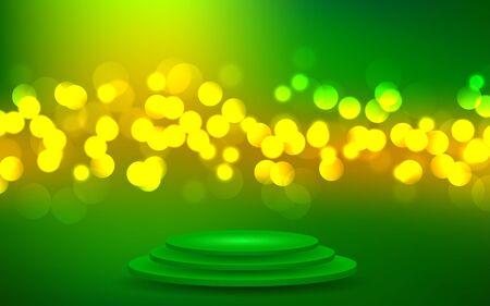 green podium with green abstract background