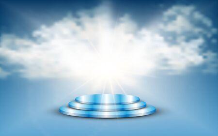 blue podium with blue sky background