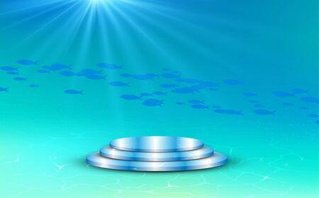 blue podium under the sea