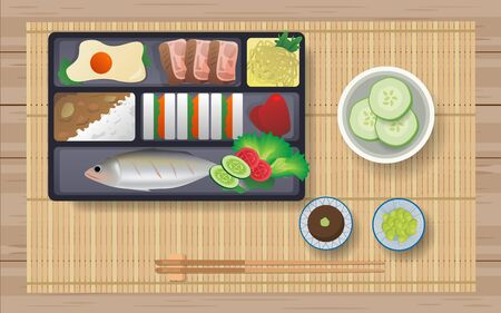Japanese food in bento box on the wooden table Illustration