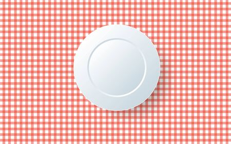 Empty plate on the red tablecloth Illustration