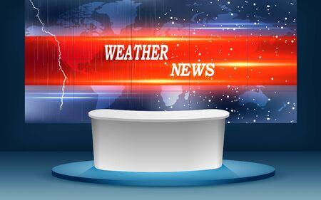 weather news studio room with the rain background Illustration