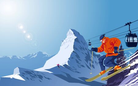Snow ski on snow mountain Ilustrace