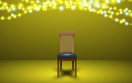 chair with light in the room Illustration