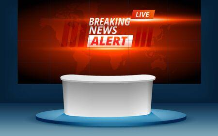 breaking news alert on the lcd tv in the news studio