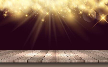 Holztisch mit goldenem hellem Hintergrund Vektorgrafik