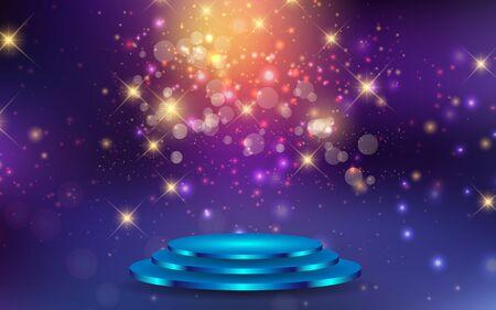 blue podium with light abstract background Illusztráció