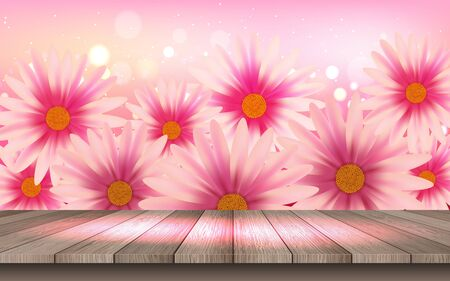 wooden floor with pink daisy flowers background