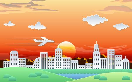 landscape of city in the evening Illustration
