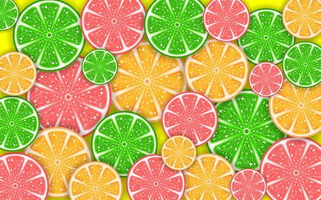 colorful mixed fruits on the yellow background Stok Fotoğraf - 129292850