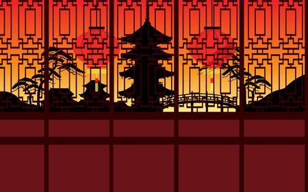 Chinese style house in the evening Illustration