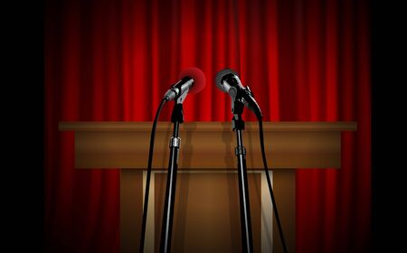 microphone on the podium with red curtain background Ilustração