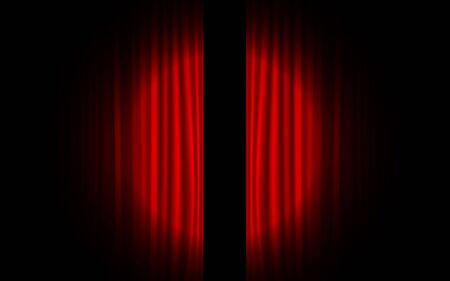Red curtain with spot light on the stage  イラスト・ベクター素材