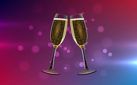 sparkling wine glasses with abstract background Çizim