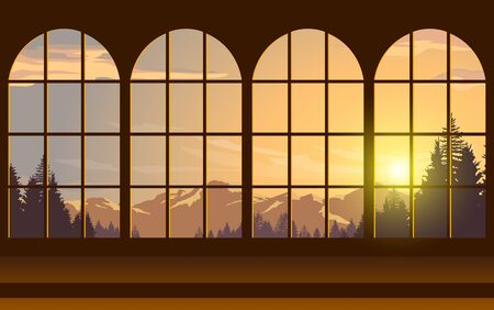 windows whit nature background Illustration