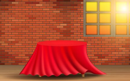 red tablecloth on the wooden table in the room