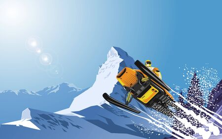 Snowmobile at the snow mountain 免版税图像 - 129605437