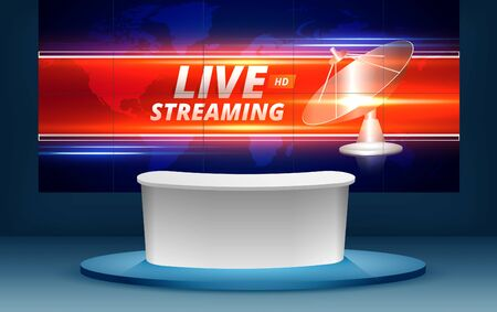 tavolo con live hd su sfondo lcd nella sala studio delle notizie