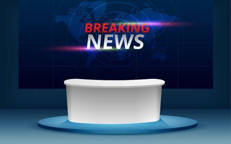 Mesa con alta definición en vivo sobre fondo lcd en la sala de estudio de noticias
