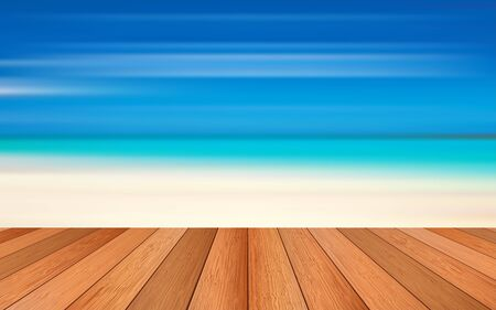 wooden floor with the beach background