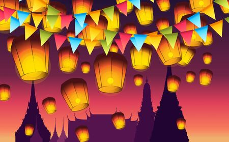 sky lantern floating at temple in thailand