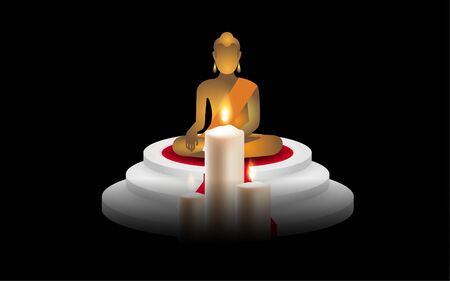 Candles in front of the Buddha image Stock Vector - 129605723