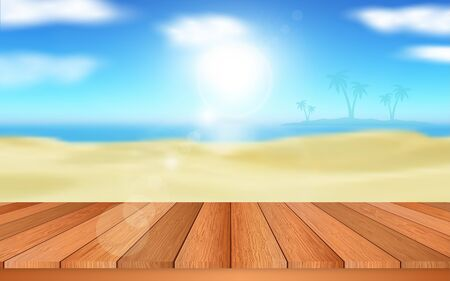 wooden table on the beach in daytime
